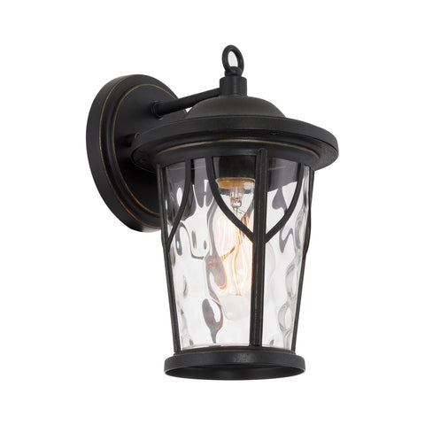 "Kira Home Cameron 10"" 1-Light Rustic Traditional Indoor Outdoor Porch Light Wall Sconce + Hammered Glass Shade, Sandblasted Black Finish"