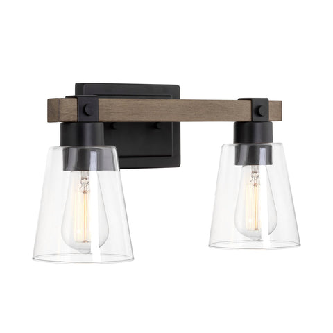 "Kira Home Asher 16"" 2-Light Farmhouse Vanity / Bathroom Light + Funnel Glass Shades, Smoked Birch Wood Style + Black Finish"