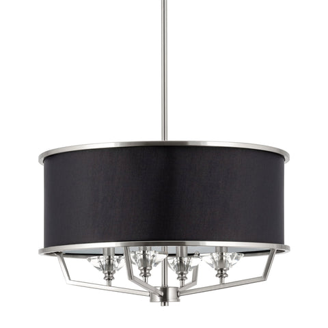 "Kira Home Campbell 20"" 4-Light Modern Drum Chandelier + Black Fabric Shade, Adjustable Height, Brushed Nickel Finish"