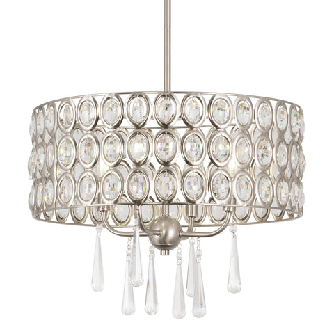 "Kira Home Amelia 18"" Modern Chic 4-Light Crystal Chandelier Pendant Light Fixture, Brushed Nickel Finish"