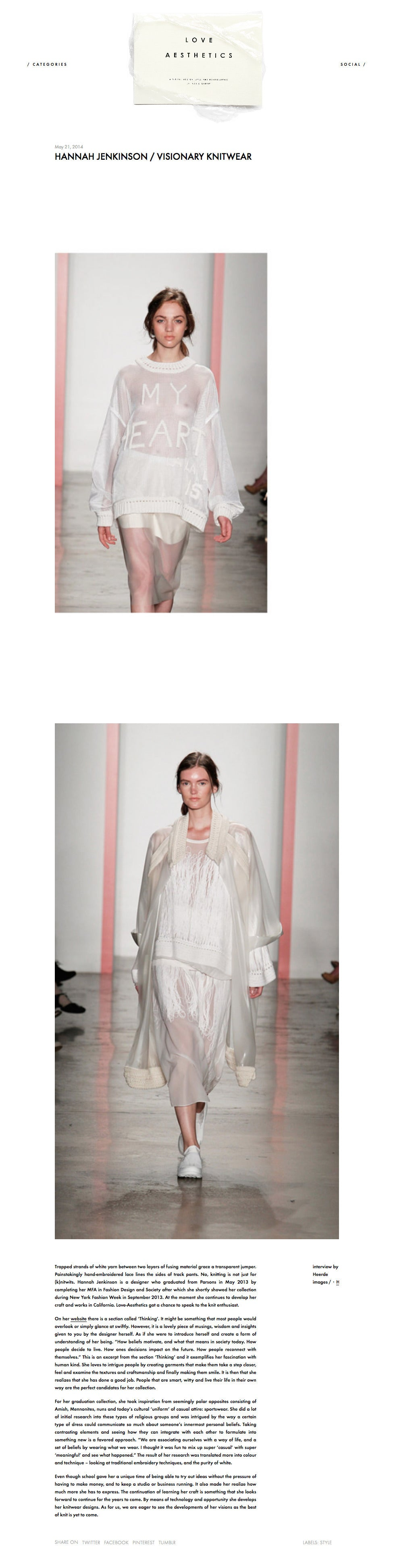 Love Aesthetics Press on Hannah Jenkinson