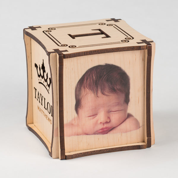 Crown Jewel CUBEMENTO™ birth cube made from Maple Hardwood. Right side of cube showing your favorite photo printed directly on wood.