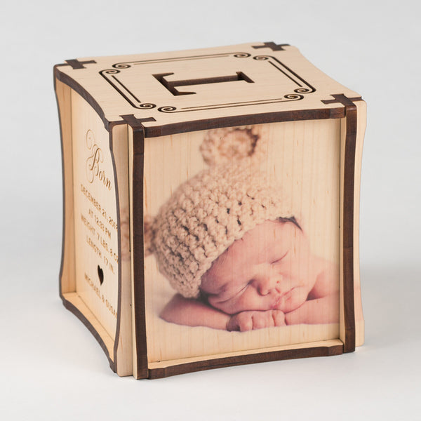 Crown Jewel CUBEMENTO™ birth cube made from Maple Hardwood. Left side of cube showing your second favorite photo printed directly on wood.