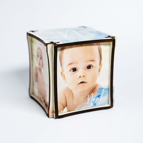 Blue Watercolor Photo Cube