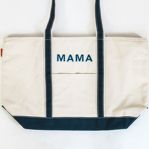 """Mama"" Large Canvas Tote"