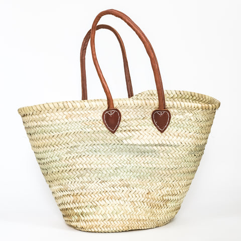 Large Straw Basket with Leather Handles
