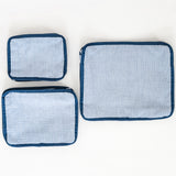 Navy Seersucker Zipper Pouch Set