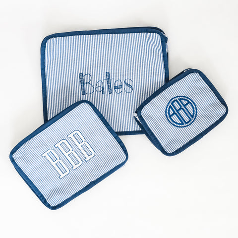 Embroidered Navy Seersucker Pouch Set