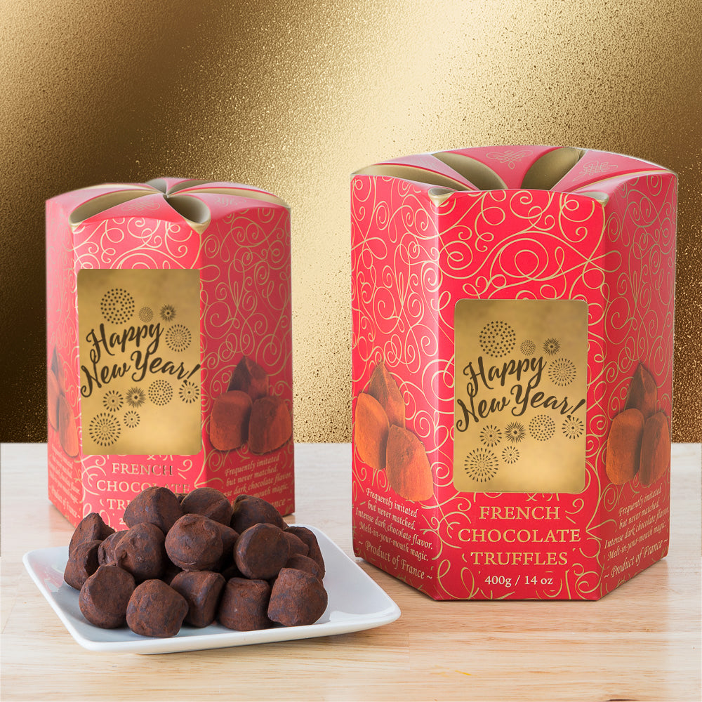 french chocolate truffles happy new year boxes