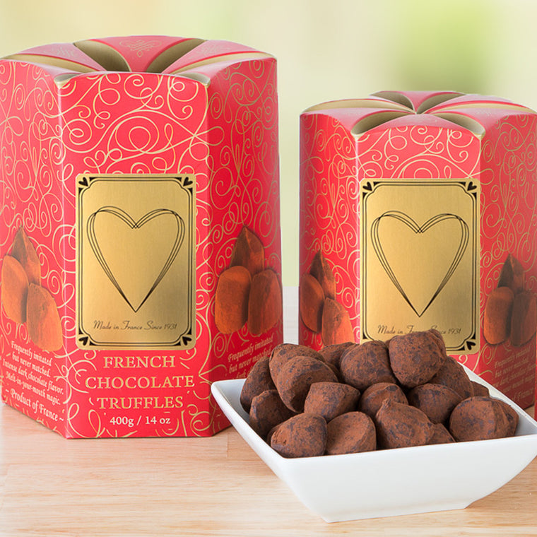 Classic French Chocolate Truffles in Valentine's Boxes