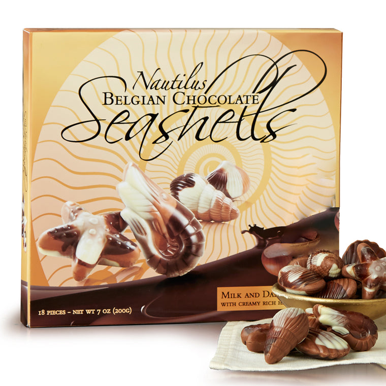 60%-off! Nautilus Belgian Chocolate Seashells 18-pc Box