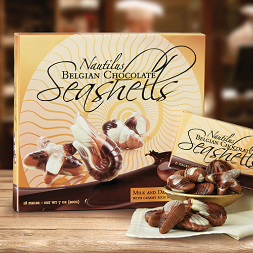 Volume Purchase Discounts! Nautilus Belgian Chocolate Seashells
