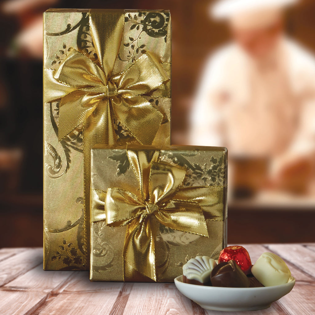 Gift-Wrapped Belgian Chocolate Assortments -- Best by 5/23/2019.