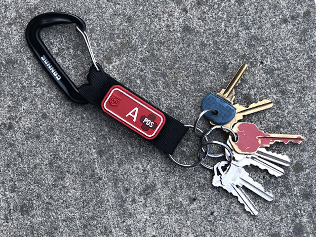 Blood Type Patches W/Velcro Key Ring Carabiner (3269996314705)