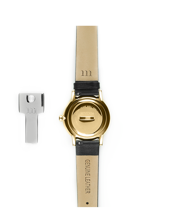 Black leather band and gold bezel affordable women's watch back