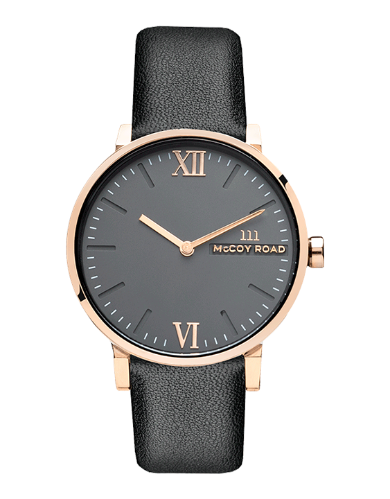 Black and rose gold affordable women's watch with black leather band