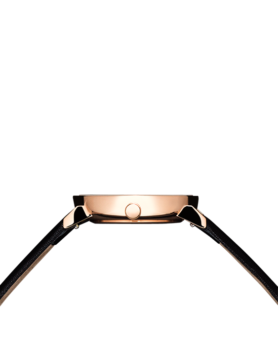 Black and rose gold affordable women's watch with black leather band side view