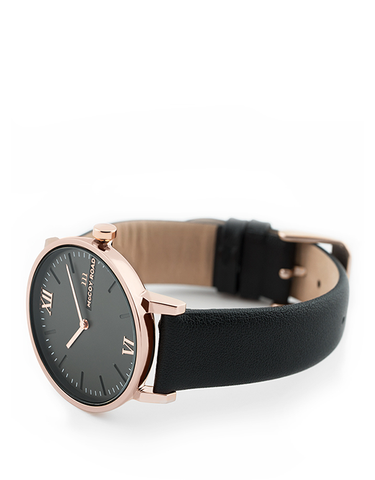 Seven50 Rose Gold and Matte Gray McCoy Road Women's Watch With Black Leather Band 3/4