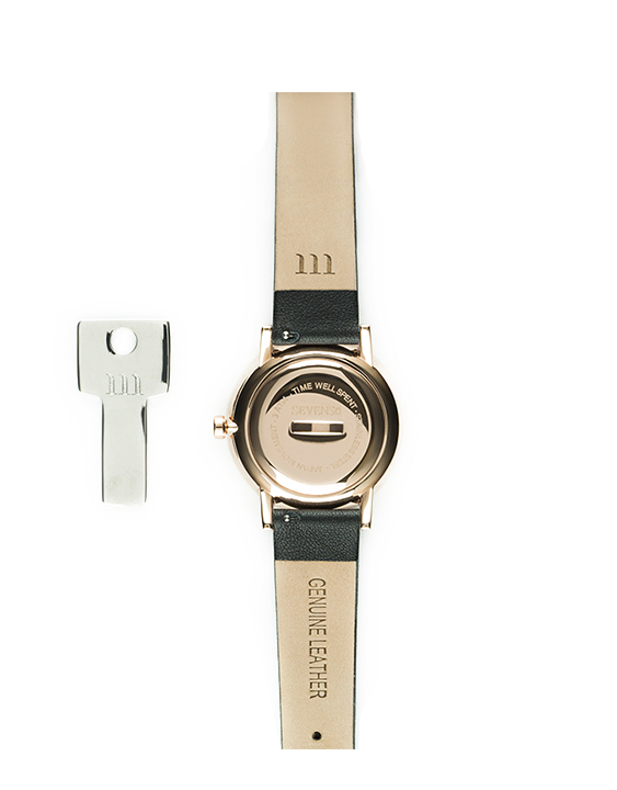 Seven50 Rose Gold and Matte Gray McCoy Road Women's Watch With Black Leather Band back
