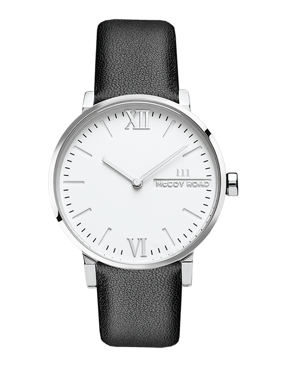 Seven50 White and Silver McCoy Road Women's Watch With Black Leather Band