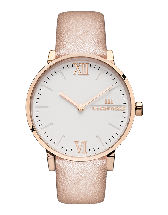 McCoy Road Rose Gold & White Face Women's Seven50 Watch With Nude Band