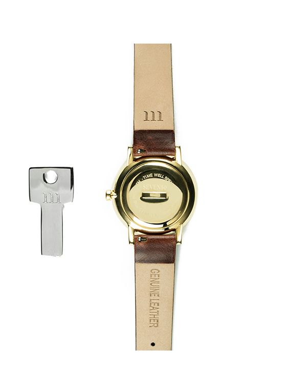 Seven50 Gold and White McCoy Road Women's Watch With Dark Brown Band Back