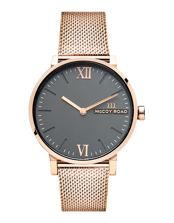 Seven50 Rose gold and Matte Gray McCoy Road Women's Watch With Rose gold Milanese Mesh Strap