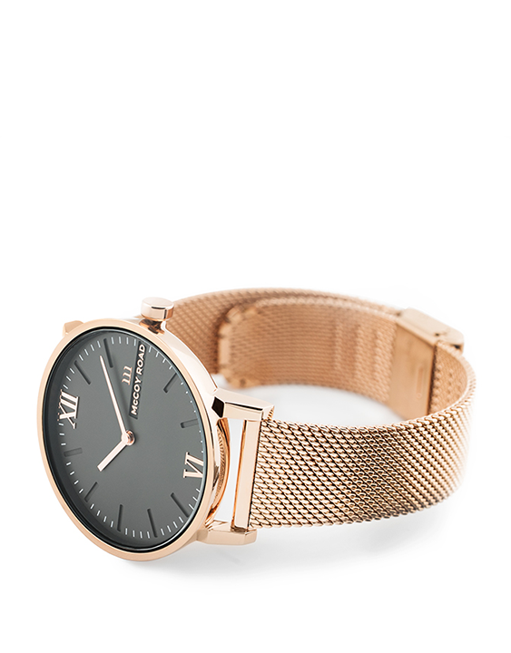 Seven50 Rose Gold and Matte Gray McCoy Road Women's Watch With Rose Gold Milanese Mesh Band 3/4