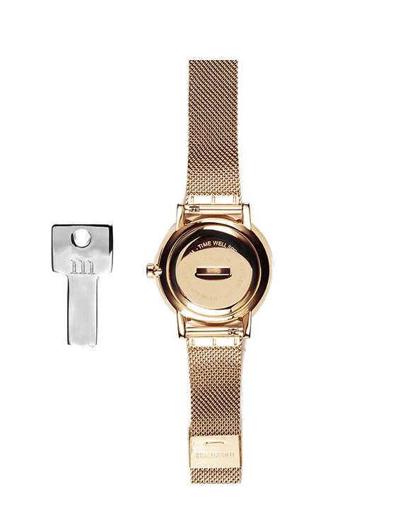 Seven50 Rose Gold and Matte Gray McCoy Road Women's Watch With Rose Gold Milanese Mesh Band Back