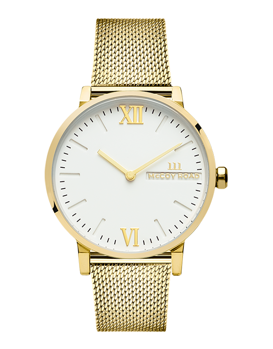 Seven50 Gold and White McCoy Road Women's Watch With Gold Milanese Mesh Strap