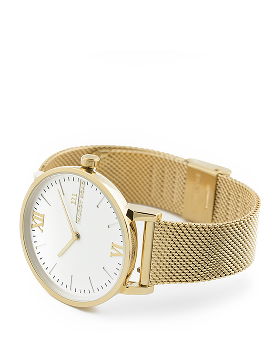 Seven50 Gold and White McCoy Road Men's and Women's Watch With Gold Milanese Mesh Band 3/4