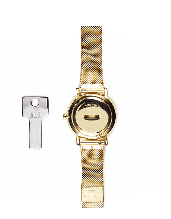 Seven50 Gold and White McCoy Road Women's Watch With Gold Milanese Mesh Strap back