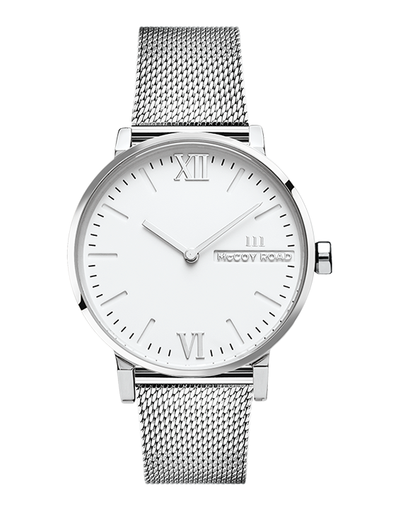 Seven50 Silver and White McCoy Road Women's Watch With Silver Milanese Mesh Strap