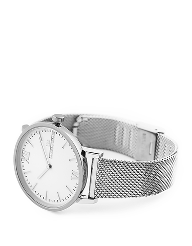 Seven50 Silver and White McCoy Road Women's and Men's Watch With Silver Milanese Mesh Band 3/4
