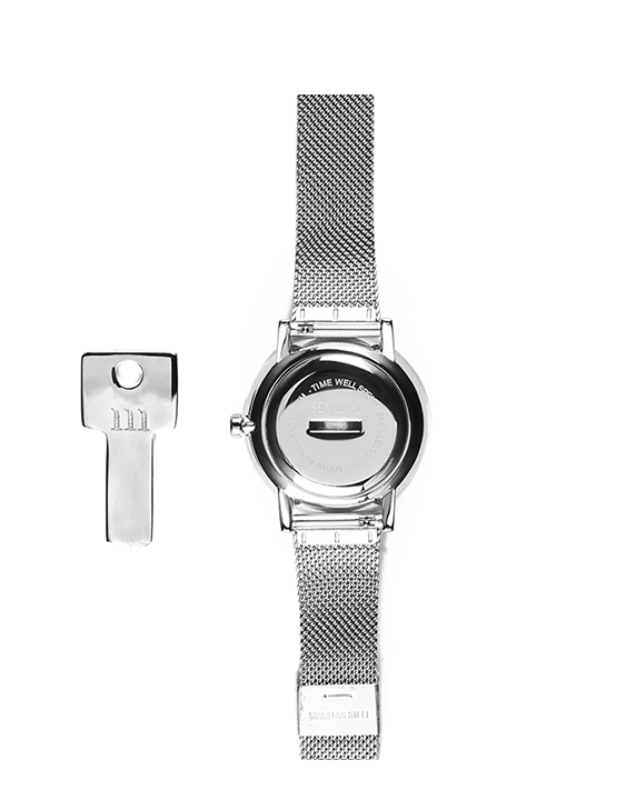 Seven50 Silver and White McCoy Road Women's and Men's Watch With Silver Milanese Mesh Band Back
