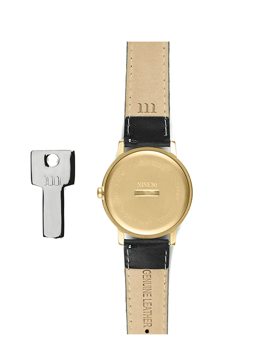 Black Leather and Gold Case men's minimalist affordable watch with genuine black leather band back