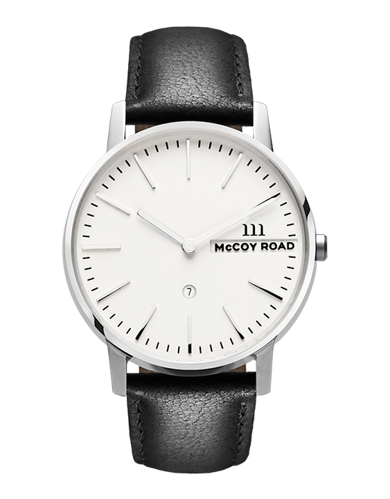 Nine30 Silver and White McCoy Road Watch With Black Leather