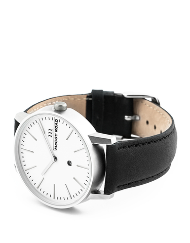 Nine30 Silver and White McCoy Road Watch With Black Leather 3/4