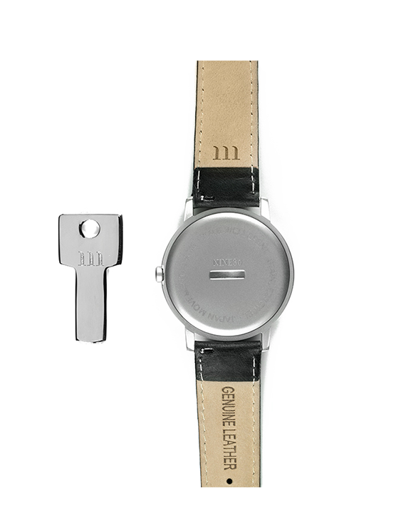 Nine30 Silver and White McCoy Road Watch With Black Leather back case