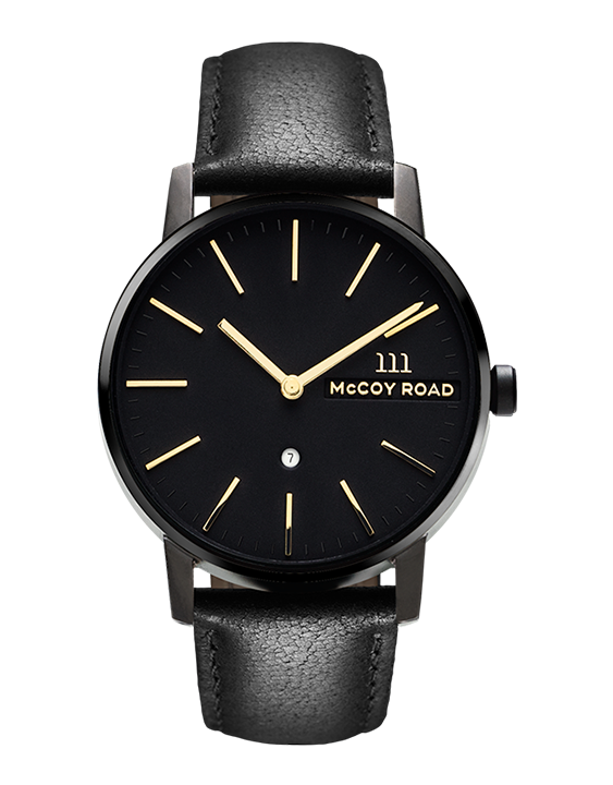 All black with gold hands men's affordable watch with genuine black leather band