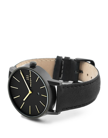 All black with gold hands men's affordable watch with genuine black leather band 3/4 view