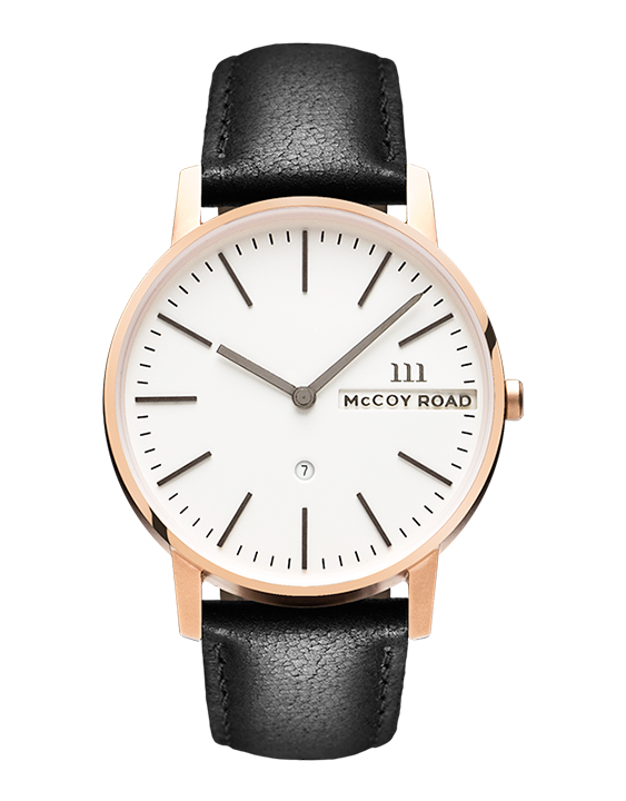 Nine30 Rose gold and white McCoy Road men's Watch With Black Leather