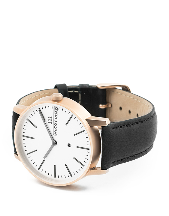 Nine30 Rose gold and white McCoy Road men's Watch With Black Leather 3/4