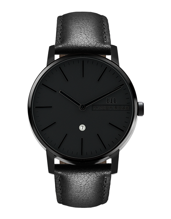 All black men's minimalist affordable watch with genuine black leather band