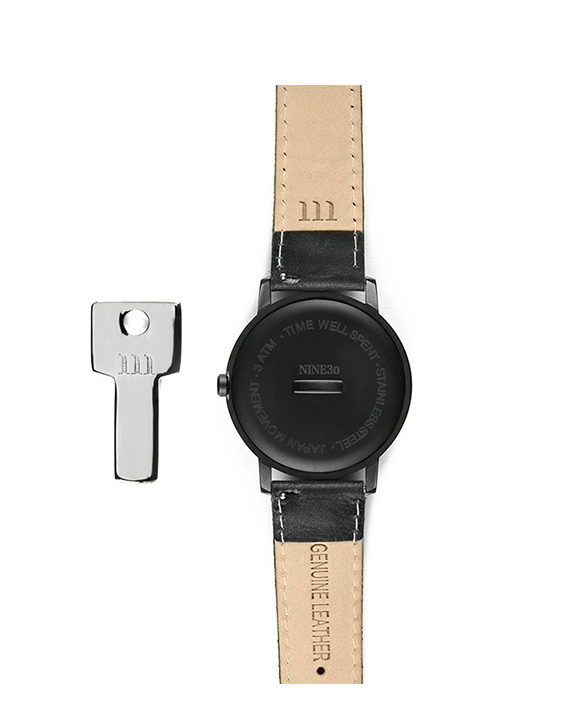 All black men's minimalist affordable watch with genuine black leather band back