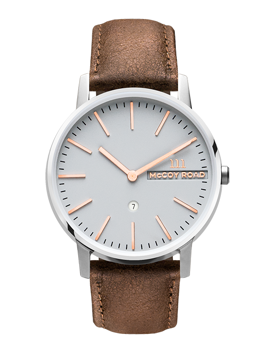 McCoy Road silver and rose gold men's watch with brown leather band