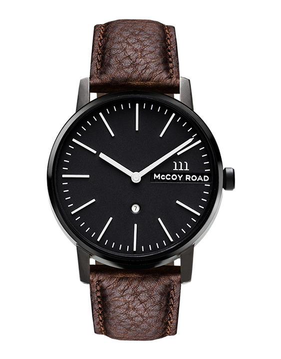Nine30 Black and Silver McCoy Road Men's Watch With Dark Brown Leather Band