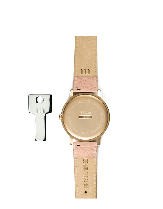 McCoy Road Rose Gold & White Marble Ten40 Watch with Pink Band back