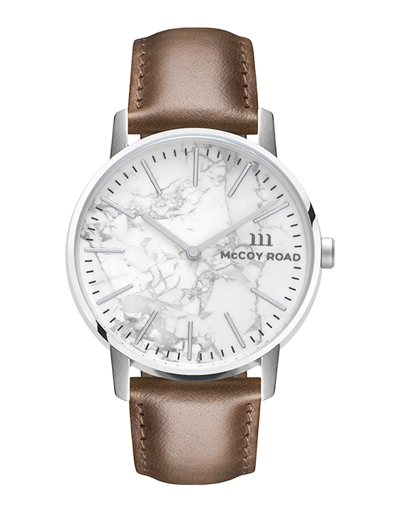 Ten40 Silver and White Marble McCoy Road Watch With Brown Leather Band