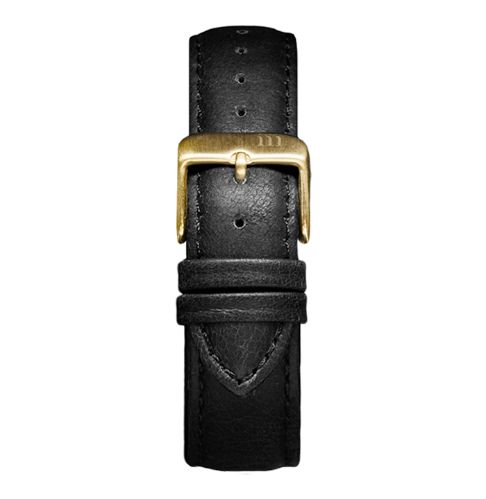 McCoy Road black leather watch band with gold clasp